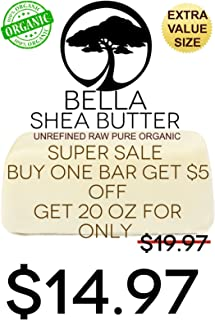 Unrefined Ivory Shea Butter by BELLA Shea Butter - Best Rated Ingredient for DIY Skin Care Recipes - For Dry or Acne-Prone Skin, Eczema, Stretch Marks, Delicate Baby Skin - Get FREE 4 more OZ