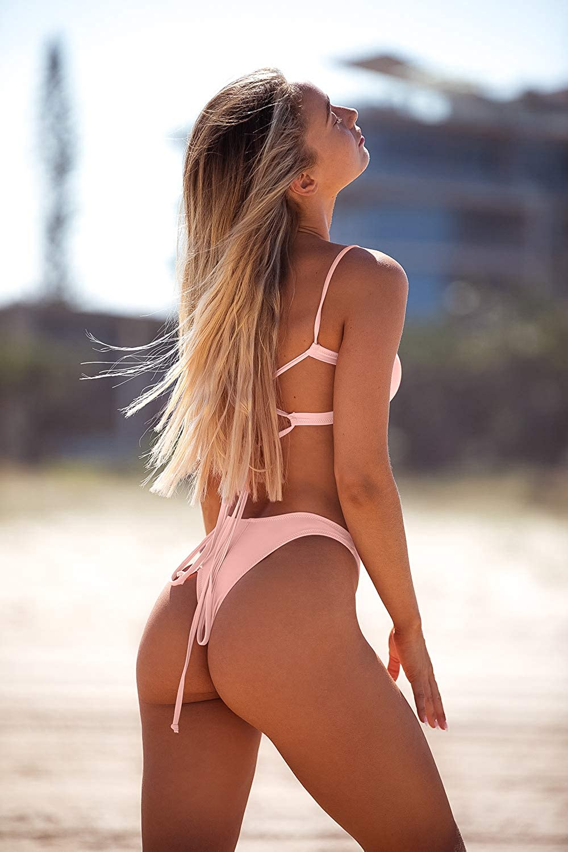 hoher Schnitt Neon-Pink zweiteiliger Bandeau-Badeanzug GirlsUpto Frecher Bikini