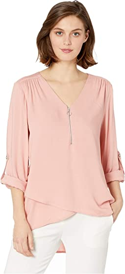 Zip-Up Asymmetric Hem Top