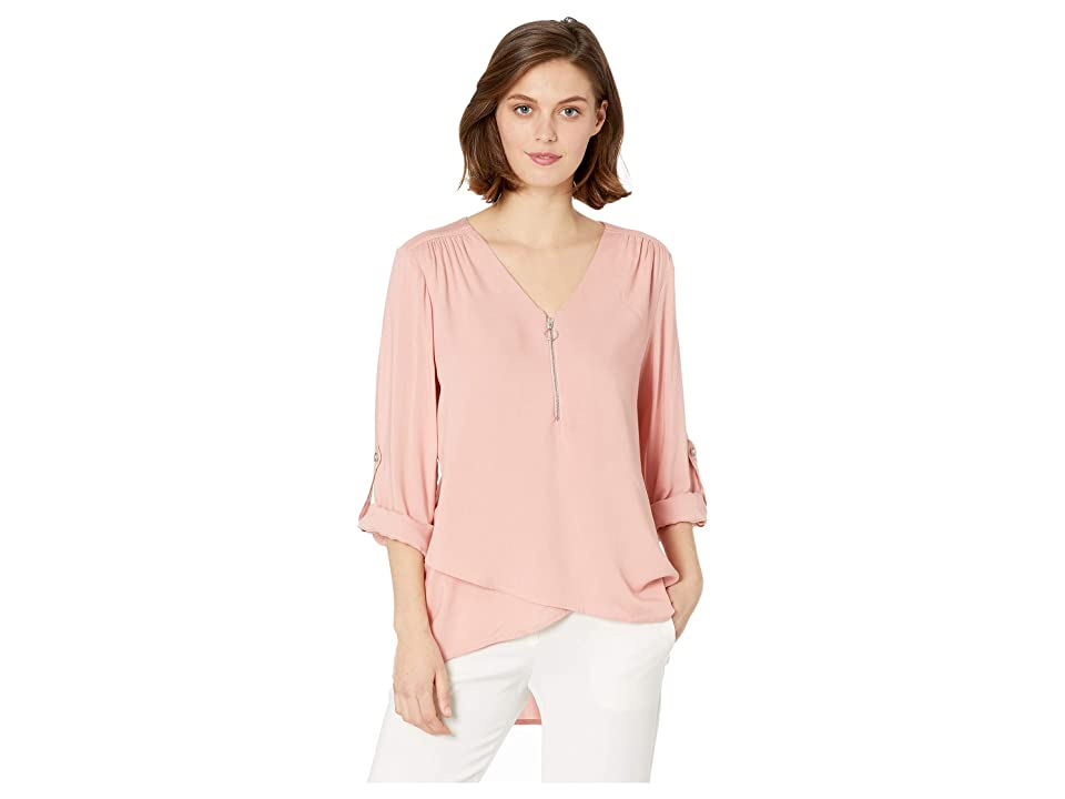 Karen Kane Zip-Up Asymmetric Hem Top (Petal Pink) Women