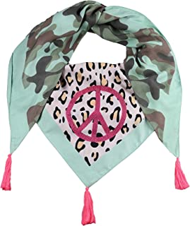 Zwillingsherz Dreieckstuch im Camouflage-Leomuster - Eleganter Frühlingsschal mit Peace– Tuch für Frauen Damen Mädchen - Hochwertiger Freizeitschal - Halstuch Stola nachhaltig- Frühjahr Sommer Herbst