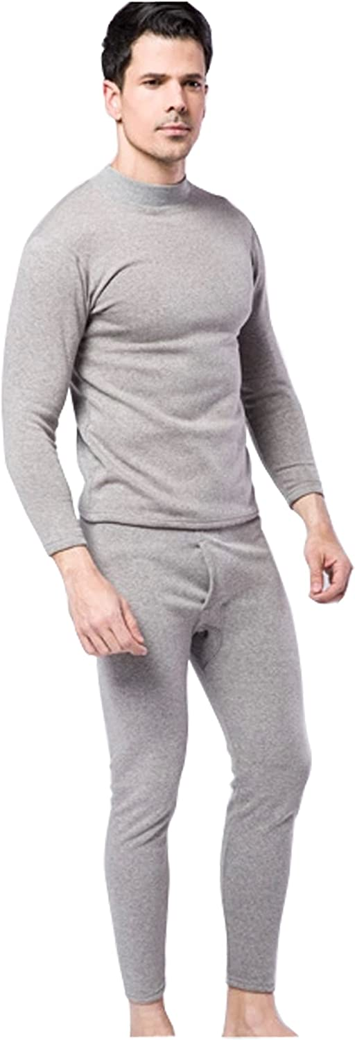 xiaopingshop New Men's Winter Comfort Inverted Cashmere Thermal Underwear Sets-Flower Gray