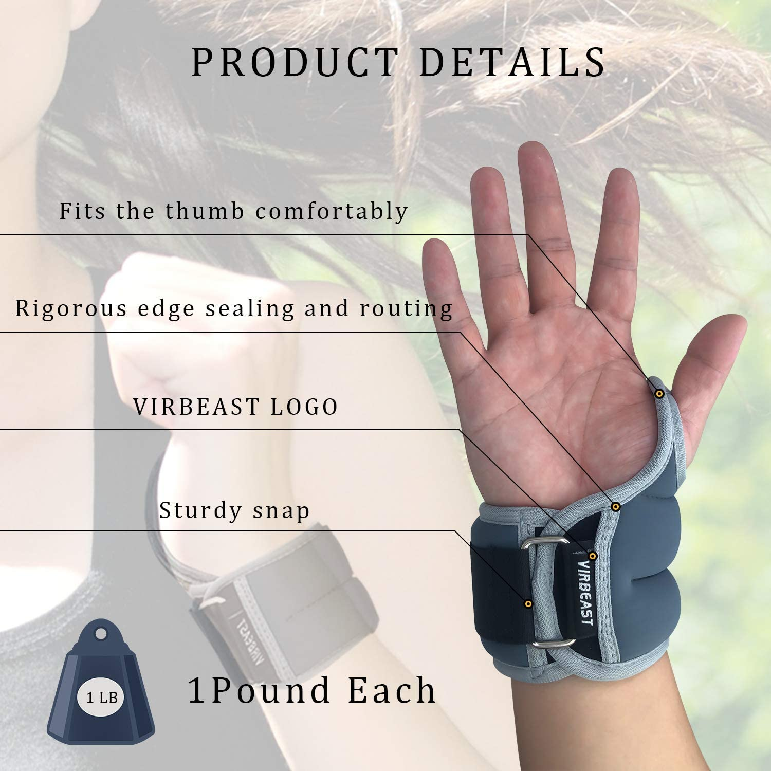 Virbeast Weighted Gloves Pair of Wrist Weights with Hole for Yoga Sport Gym Workout Camping Fitness Running Workout and More Activities 1Pound Each 2 Per Set