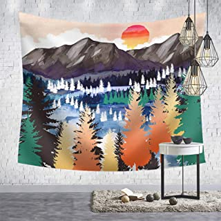 OCCIGANT Oil Painting Sunset Mountain Tapestry Wall Hanging Watercolor Nature Landscape Tapestry Tropical Cypress Tree Tap...