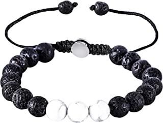 ZD-jewelry Essential Oil Bracelet Adjustable,Mens Beads Bracelet Lava Rock and Agate Bead Stone Bracelet Perfume Diffuser ...