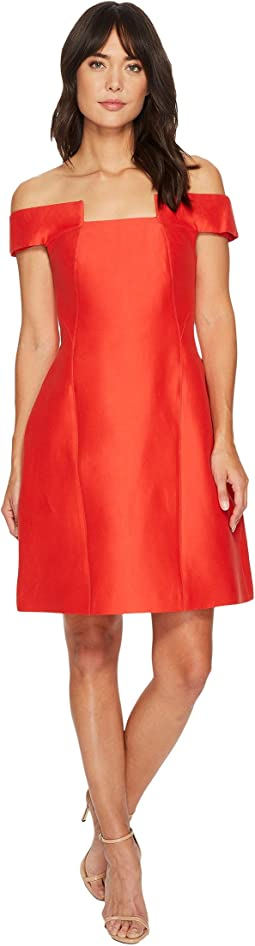 Off Shoulder Geo Neck Silk Faille Dress