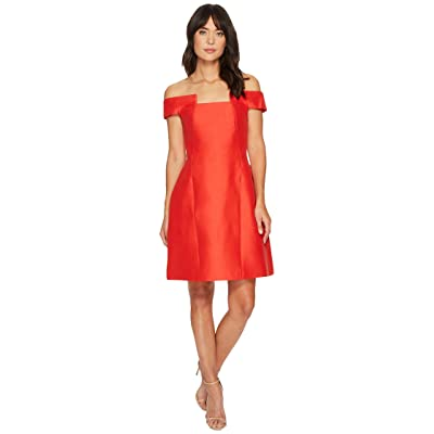Halston Heritage Off Shoulder Geo Neck Silk Faille Dress (Lipstick) Women