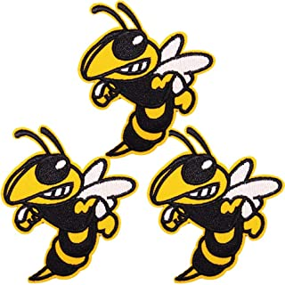 U-Sky Cool Insect Iron on Patches for Backpacks, 3pcs Hornet Angry Bee Embroidered Sew-on/Iron-on Appliques Patch for Kids Clothing/Shirts/Jeans/Vest/Jackets, Size: 2.9x2.5 inch