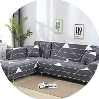 Gooding life 2 Pieces Covers for L Shaped Sofa Living Room Corner Sofa Covers Sectional Couch Slipcover Stretch Elastic Spandex Home Textile,9,145-190cm 235-300cm