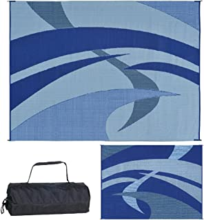 Reversible Mats Outdoor Patio/RV Camping Mat - Swirl (Blue/Black/Grey, 9-Feet x 12-Feet)