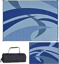 Reversible Mats Outdoor Patio/RV Camping Mat - Swirl (Blue/Black/Grey, 9-Feet x 12-Feet)