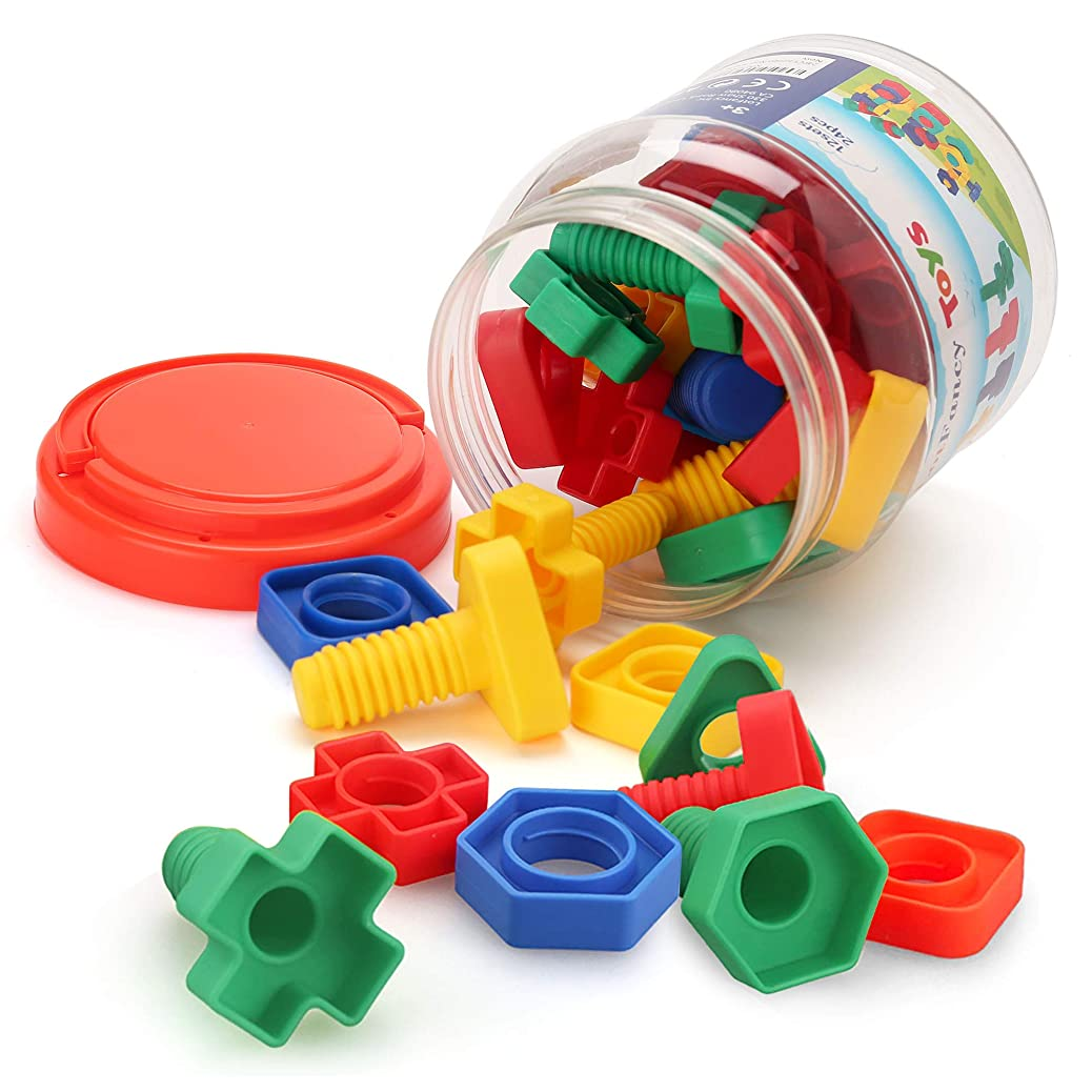 LotFancy Jumbo Nuts and Bolts Fine Motor Skills, Occupational Therapy Toddlers Toys with Storage Case, 24 PCS Montessori Building Construction Set Kids Matching Game Toys for Preschoolers Boys Girls wsewfjcufv