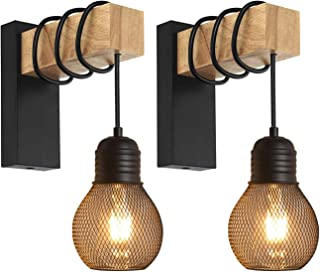 Ototon® 2 Pcs Applique Murale Interieur en Bois et Métal E27 Lampe Vintage Rétro Industriel Style Décoration pour le Coulo...