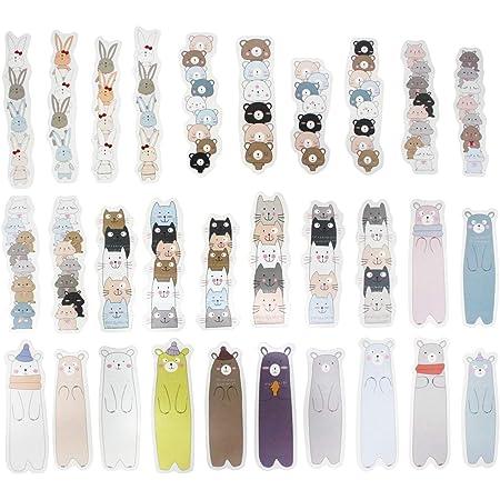hanairo しおり ブックマーク 可愛い 動物 ねこ 綺麗 おしゃれ 30枚(つみあげ②)