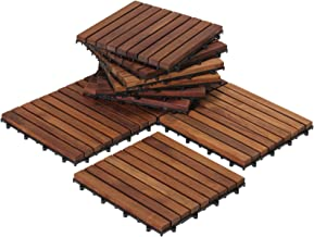 Bare Decor EZ-Floor Interlocking Flooring Tiles in Solid Teak Wood Oiled Finish (Set of..