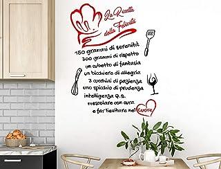Adesivi Murali Cucina Aforisma la ricetta della felicità Frasi scritte italiano wall stickers kitchen decorazione casa ade...