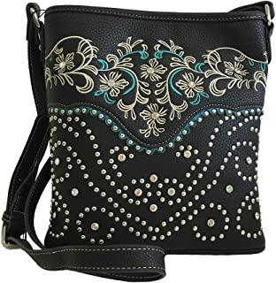Concealed Gun Messenger Purse Cross Body Flowers Embroidery Black