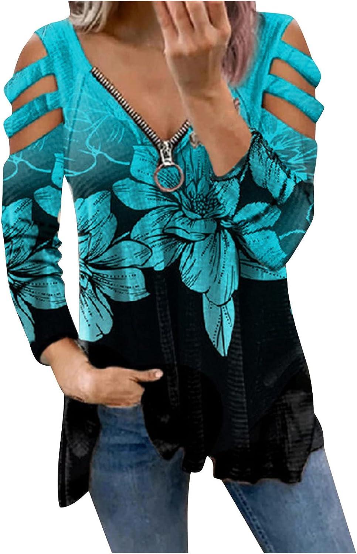 Womens Long Sleeve Tops,Womens Oversized Sweatshirts Zip Up Off Shoulder Long Sleeves Aesthetic Flower Print Pullover