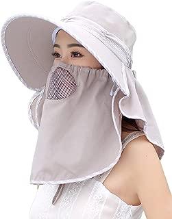Crushable UPF Sun Hat Mask & Flap Womens Wide Brim Summer Hat Visors 3-in-1
