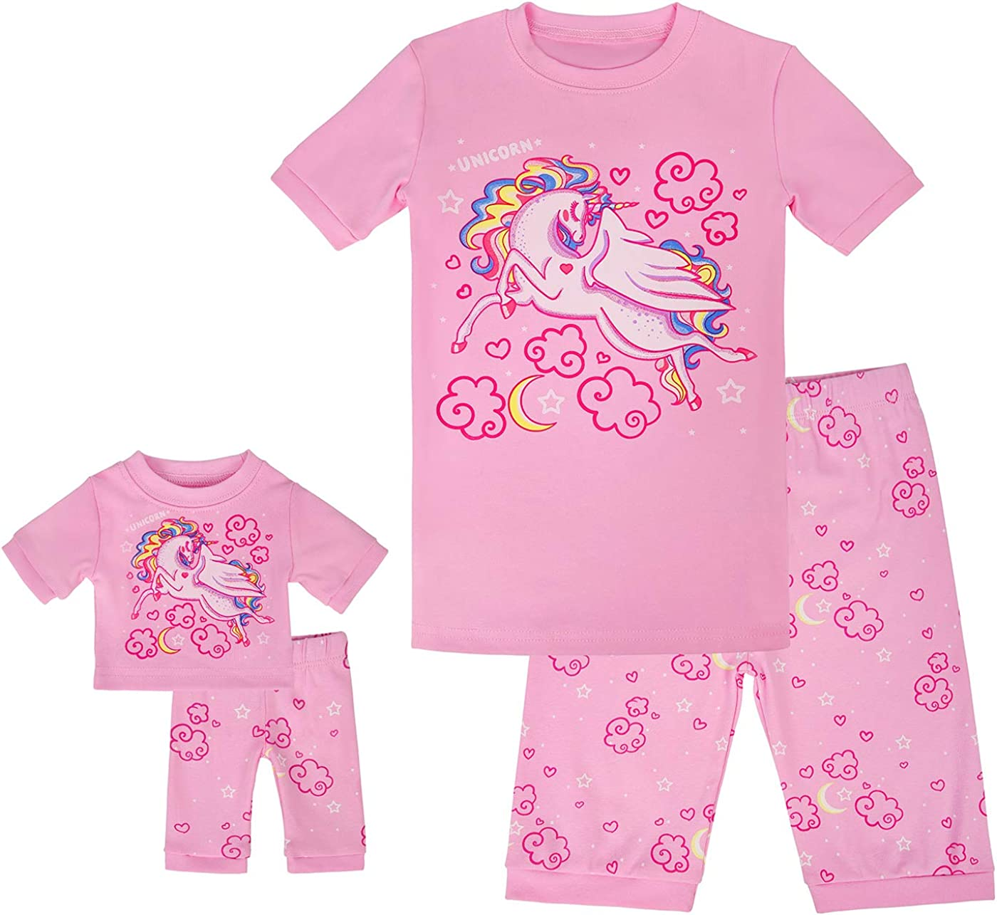 HDE Girls Unicorn Pajamas with Matching Doll Outfit Cotton Pajama Set for Girls