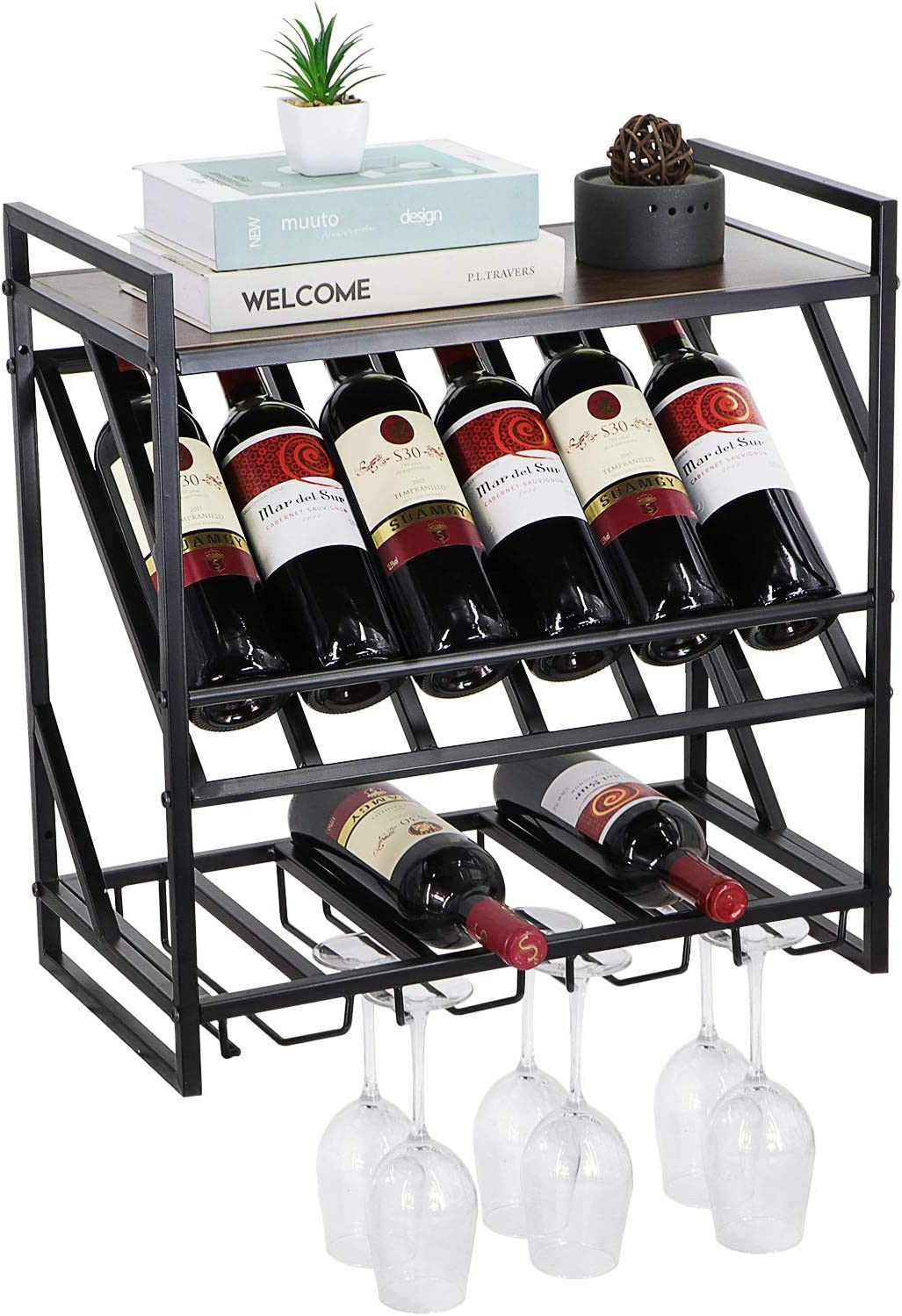 Vintage Wall Mounted Fresno Mall Wine Sh Rustic Rack Max 60% OFF Floating