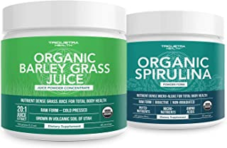 Organic Spirulina Powder 8 oz. Plus Organic Barley Grass Juice Powder 5.3 oz.