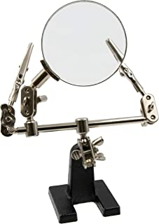 Zega Crafts Helping Hand Magnifier – Adjustable 4X Magnifying Glass on Metal Base with 2 Adjustable Alligator Clips –Designed for Soldering, Crafting and Small Precision Projects