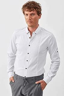 Manche Beyaz Önden Pensli Bengalin Gömlek | ME19S133008