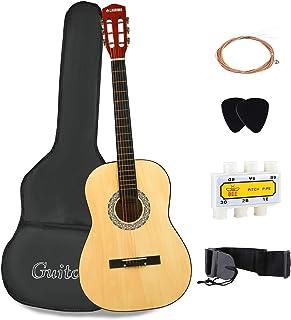 """گیتار آکوستیک LAGRIMA با کیس گیتار ، بند ، تنظیم و انتخاب رشته های فلزی برای مبتدیان / بزرگسالان / بچه ها (38 """"قهوه ای)"""