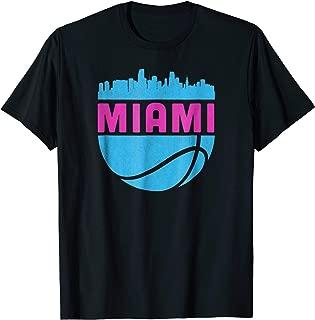 Vintage Miami Florida Cityscape Retro Basketball T-Shirt