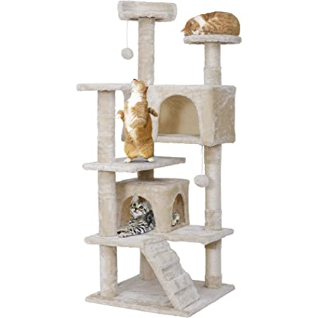 ZENY キャットタワー 高さ133 据え置き 猫タワー 安定性 天然の麻紐の爪とぎポール 猫部屋2つ付き 頑丈耐久 多頭飼い スロープ付き 運動不足解消 (優しいベージュ)
