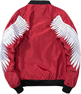 Goorape Men's Embroidered Whale and Wings Stylish Bomber Flight Souvenir Jacket