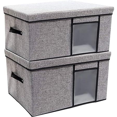 収納ボックス MINKUROW 収納ケース 大容量 透明窓 折り畳み 取っ手付き 蓋付き 整理ボックス 洗える 防塵 防湿 無臭 綿麻 大容量 高耐久性 ハンドル付き 衣類 おもちゃ 書類 2個セット (グレー 32L)