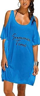 L-Peach レディース おしゃれな ゆったり 英字柄 肩出し Tシャツ 夏の日焼け ロング サマービーチ カットソー 体型カバー 海水着 ビキニカバー ラッシュガード