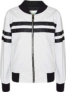 Kids Boys Girls Jackets Contrast Striped PU Bomber Varsity School Top Biker Coat