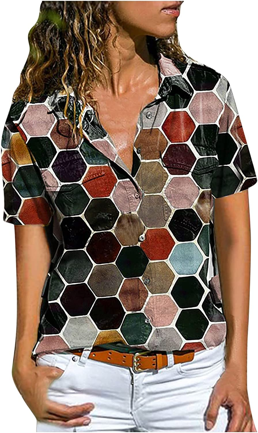 Women Max 84% OFF Lapel Buttons Shirt Hawaii Blouse Short NEW before selling Sleeve Tun V-Neck