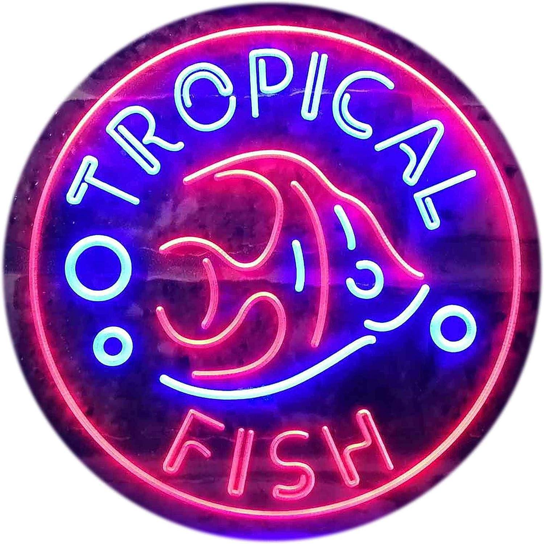 ADVPRO Tropical Fish Shop Home Decoration Dual Farbe LED Barlicht Neonlicht Lichtwerbung Neon Sign Blau & rot 16  x 12  st6s43-i3144-br