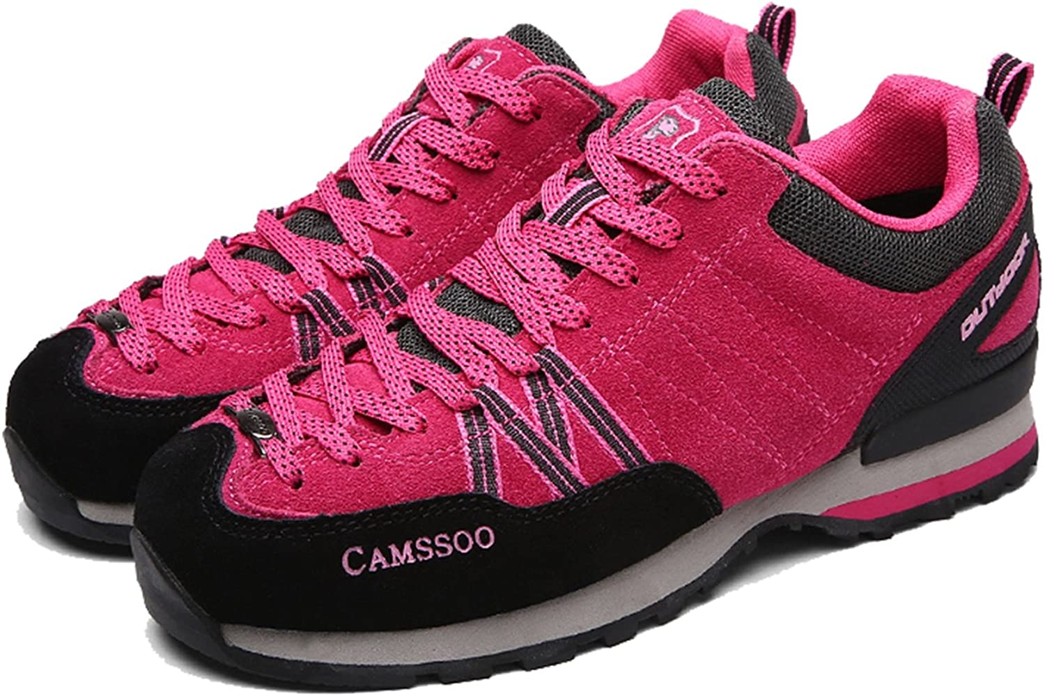 CAMSSOO Womens Outdoors Suede Leather Breathable Anti-Slip Hiking Walking Running shoes