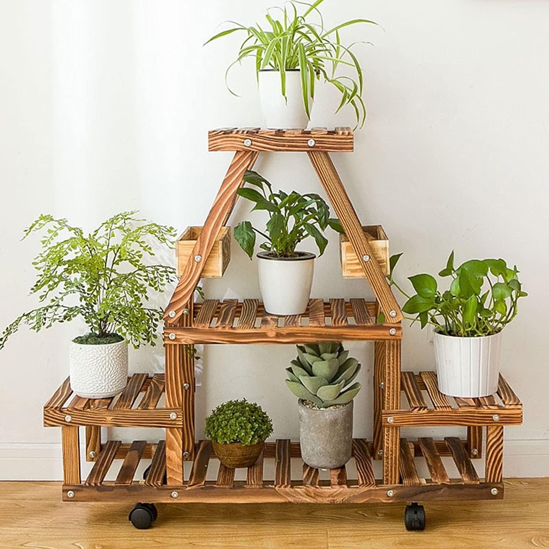 Flower Stand Shelf, Solid Wood Multi-Storey Flower Display Shelf for Living Room Interior Pulley Flower Frame