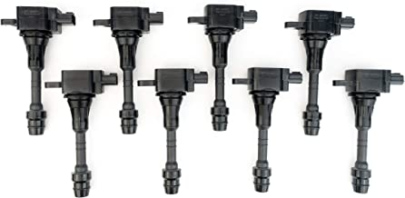 Ignition Coil Pack Set of 8 - Fits Nissan Armada, Titan, Pathfinder Armada and Infiniti QX56 5.6L - Year Models 2004, 2005, 2006, 2007 - Replaces E1010, C1483, 22448-7S015, UF510 - Replacement Coils