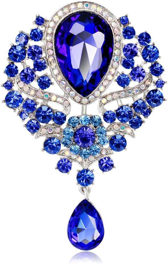 Reizteko Wedding Bridal Big Crystal Rhinestone Bouquet Brooch Pin for Women (Blue #1)