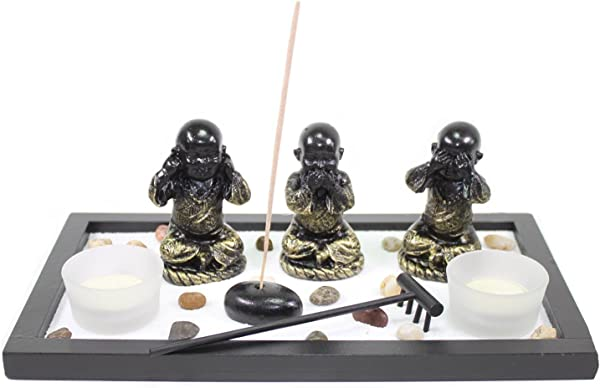 Zen Garden Buddha Monks No Evils Rock Rake Candle Incense Burner Home Decor