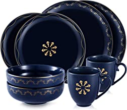 M-MAX Dinnerware Set Durable Ceramic Dinner Plate Sets, Plates, Bowls, Mugs, 8 Piece,Service For 2(YUN-Blue-2 Set)