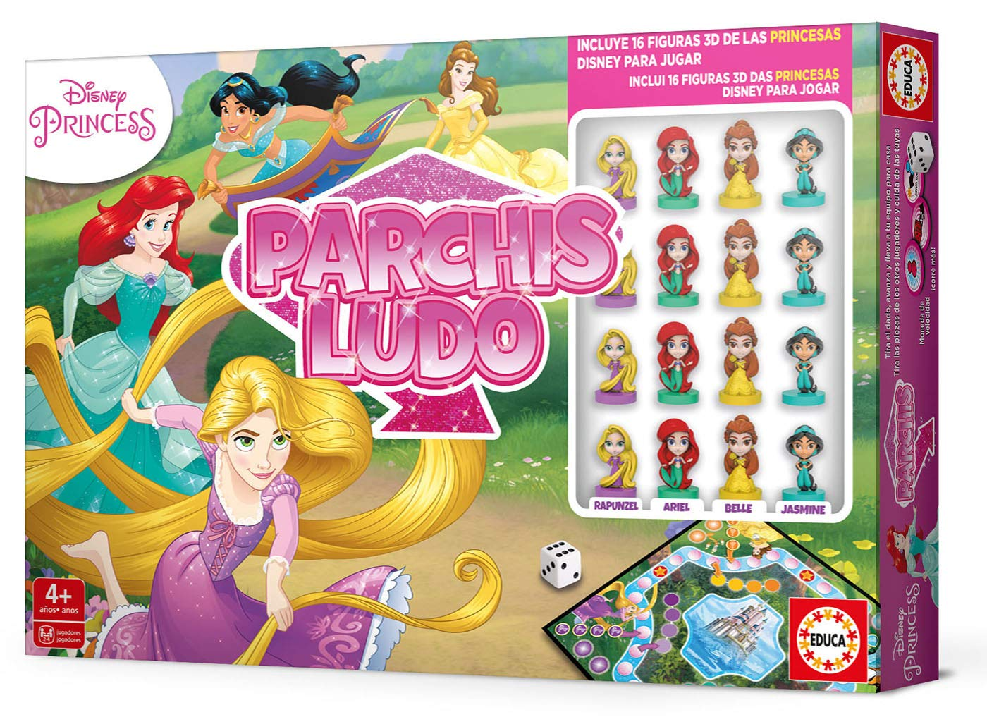 Educa Borrás- Parchís Ludo Princesas Disney, con figuras 3D de los ...