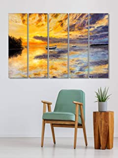 999Store wall photo frames for living room photo frames for living room Sunset and Boat in the sea wall art panels hanging...