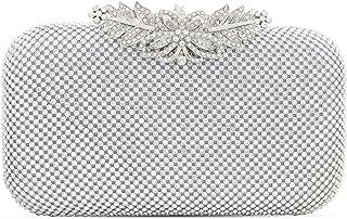 Topfive Damen Abendhandtasche mit Blumenmuster Clutch Strass Kristall Hochzeit Geldbörse Braut Abschlussball Handtasche Pa...