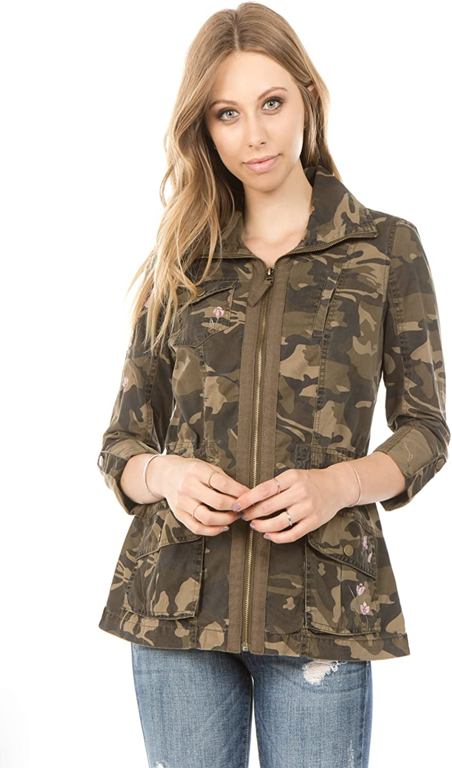 Ashley by 26 International  Women's Camo Cotton Anorak with Floral Embroidery Detail