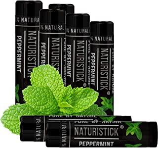Peppermint Lip Balm Gift Set in Black for Men and Women by Naturistick. Best 7-Pack All-Natural Beeswax Chapstick for Healing Dry, Chapped Lips. Made in USA