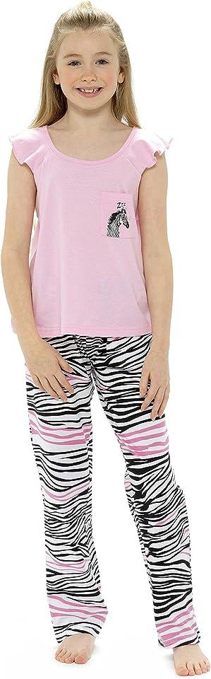 Girls Zebra Print Ruffle Top Pyjama Set