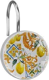 シャワーカーテンフック ステンレス鋼の錆びにくい装飾的なハンガーリング、12のセット,ゴールデンモノグラム白い花